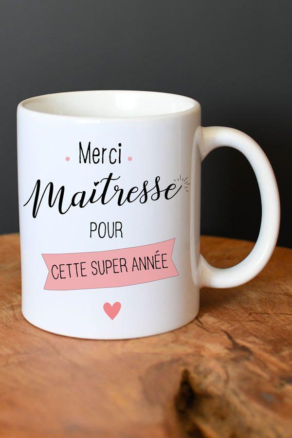 """mug en céramique """"merci maîtresse pour cette année"""""""