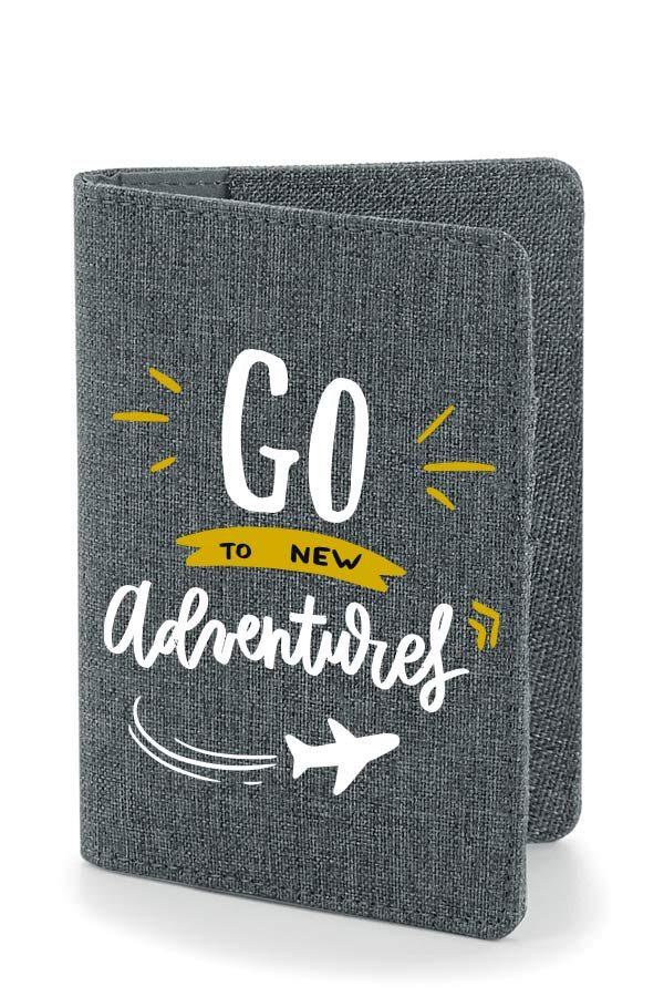 "protège passeport ""New adventures"" moutarde"